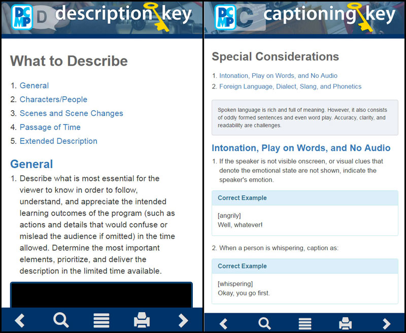 Screen shots of the Captioning Key and Description Key.