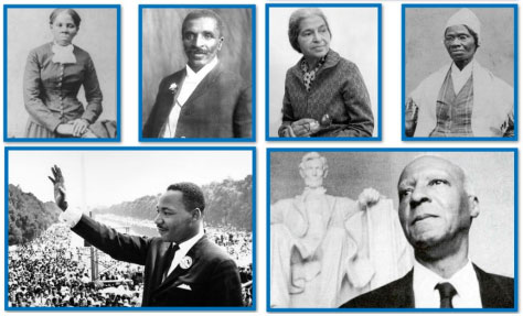 Harriet Tubman, Rosa Parks, Sojourner Truth, Martin Luther King Junior.