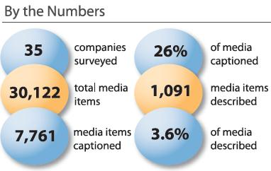 Chart: By the Numbers. 35 companies surveyed. 30,122 total media items. 7,761 media items captioned. 26% of media captioned. 1,091 media items described. 3.6% of media described.