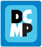 DCMP logo, letters D C on top of letters M P within a dark blue border