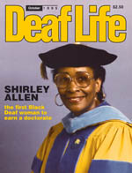 Dr. Shirley Allen on cover of Deaf Life magazine.