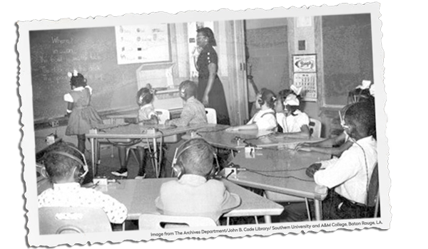 Vintage classroom photo of Louisiana School for the Black Deaf and Blind