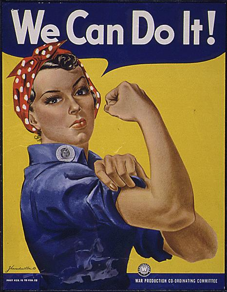 We Can Do It poster from 1940s. Woman in workshirt and bandana on head is rolling up sleeve flexing bicep.