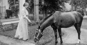 Helen holds the reigns of a grazing horse
