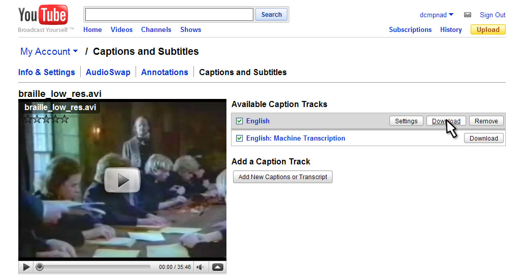 Converting youtube sbv subtitles to subrip srt format download the appropriate subtitle track from the youtube captions and subtitles menu ccuart Image collections