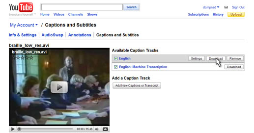 download the appropriate subtitle track from the YouTube captions and subtitles menu