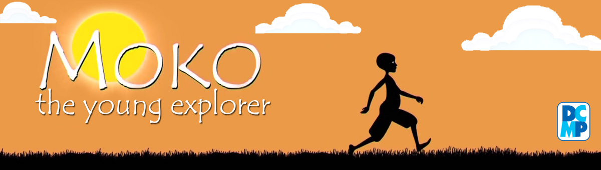 Cartoon illustration of Moko the young explorer. Silhouette of a young boy wearing long shorts, walking in the grass with sun shining brightly in the sky with a few clouds.