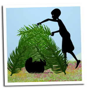 Moko, in silhouette, lays large palm fronds over a small animal to shade it.