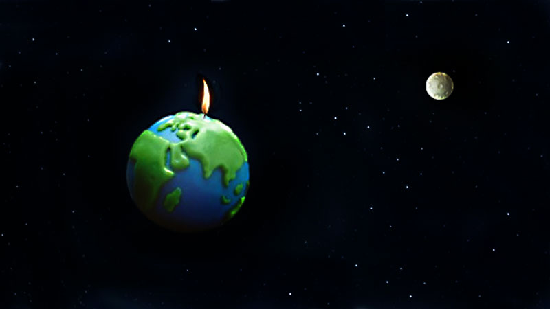 Earth floats in space with a burning candle wick on top.