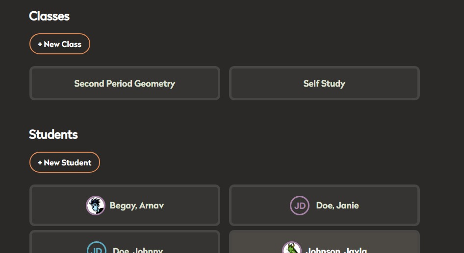 Screen shot of interface for creating and managing student accounts and classes.