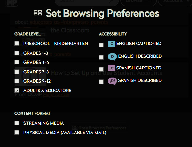 Screen shot of browsing preferences to select grade levels and type of accessiblity features for videos.