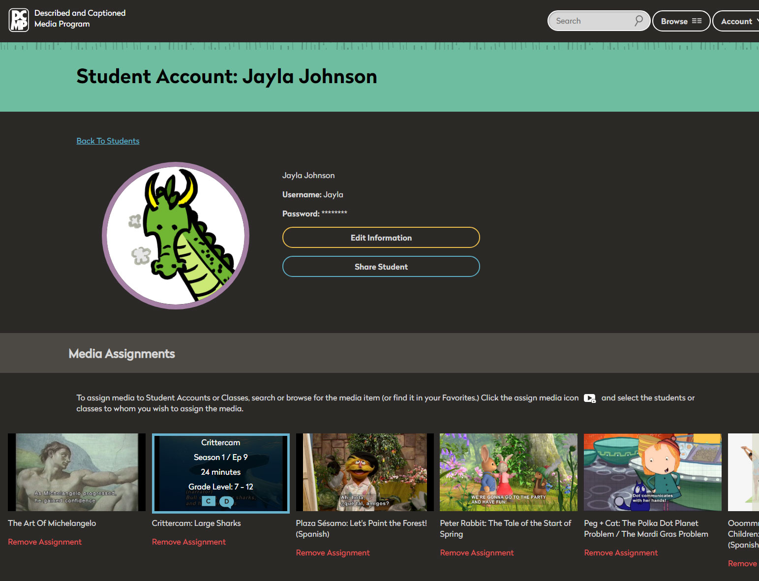 Screen shot of student account page with cartoon avatar, student name, and list of assigned media.
