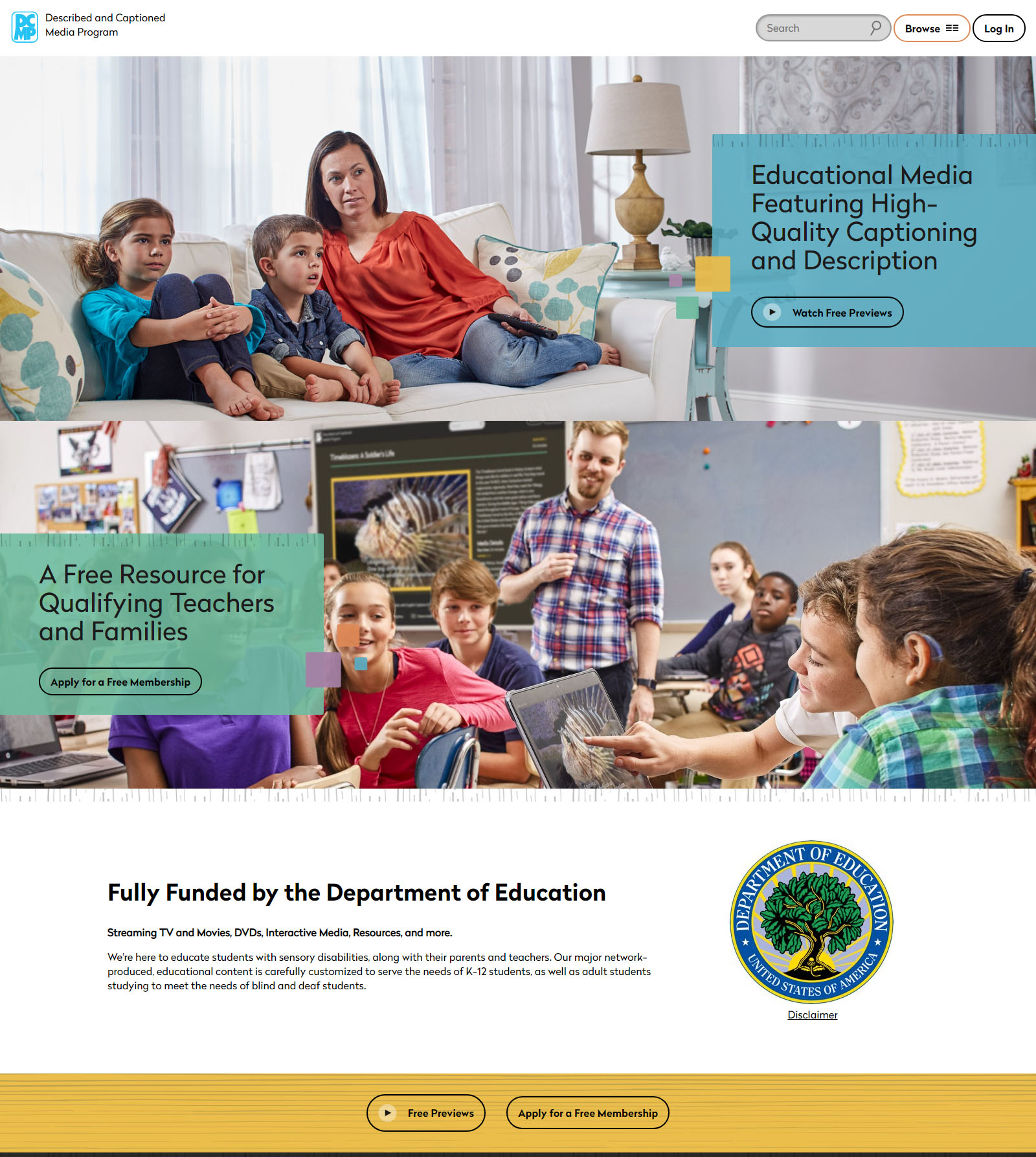 Screen shot of DCMP home page, one photo of a mother and two children sitting on a couch, and a second photo of a middle school classroom.