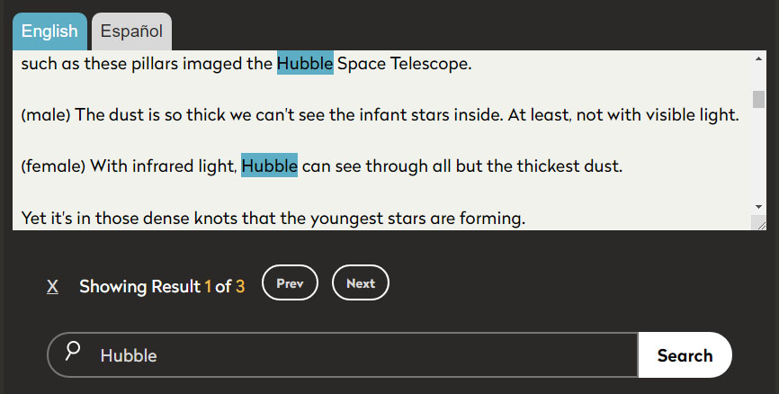 Search field with the word Hubble typed. Above, the transcript window shows a text segment that includes the search word.