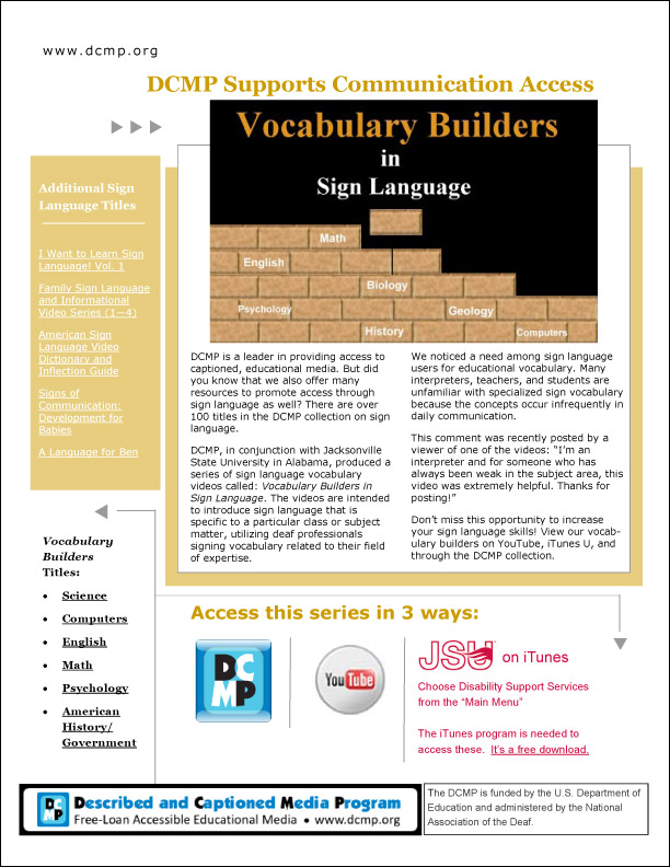 Vocabulary Builders in Sign Language