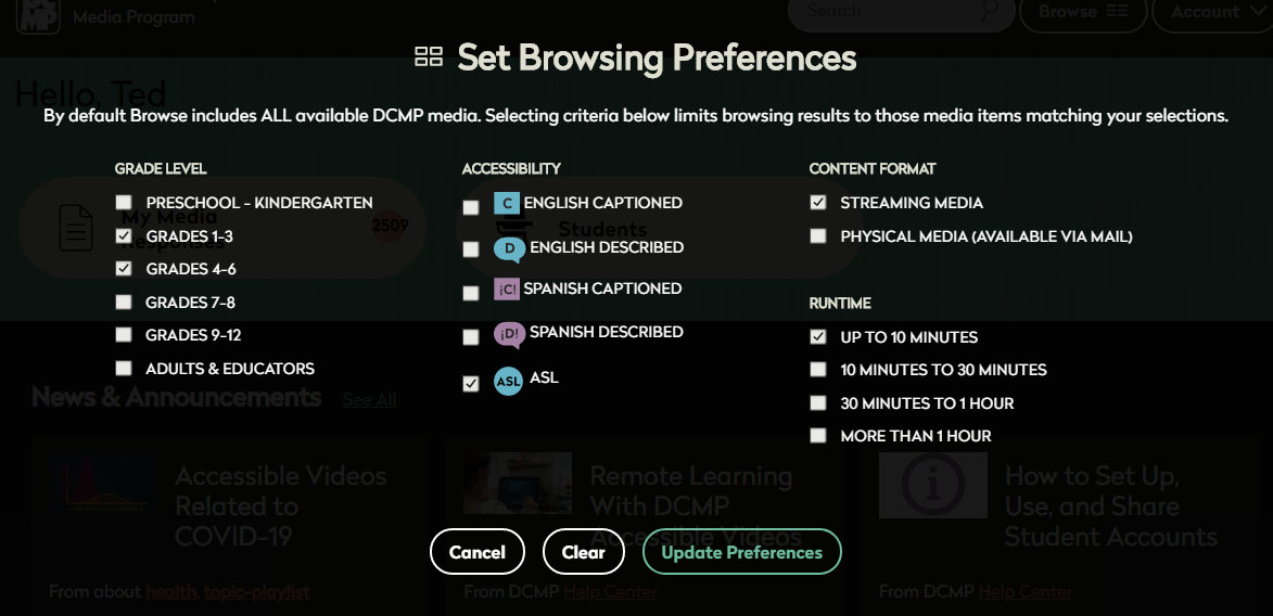 Set browsing preferences page. Settings for grade level, accessibility, content format, runtime.