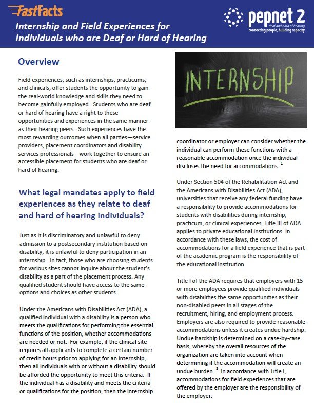 Internship and Field Experiences for Individuals who are Deaf or Hard of Hearing