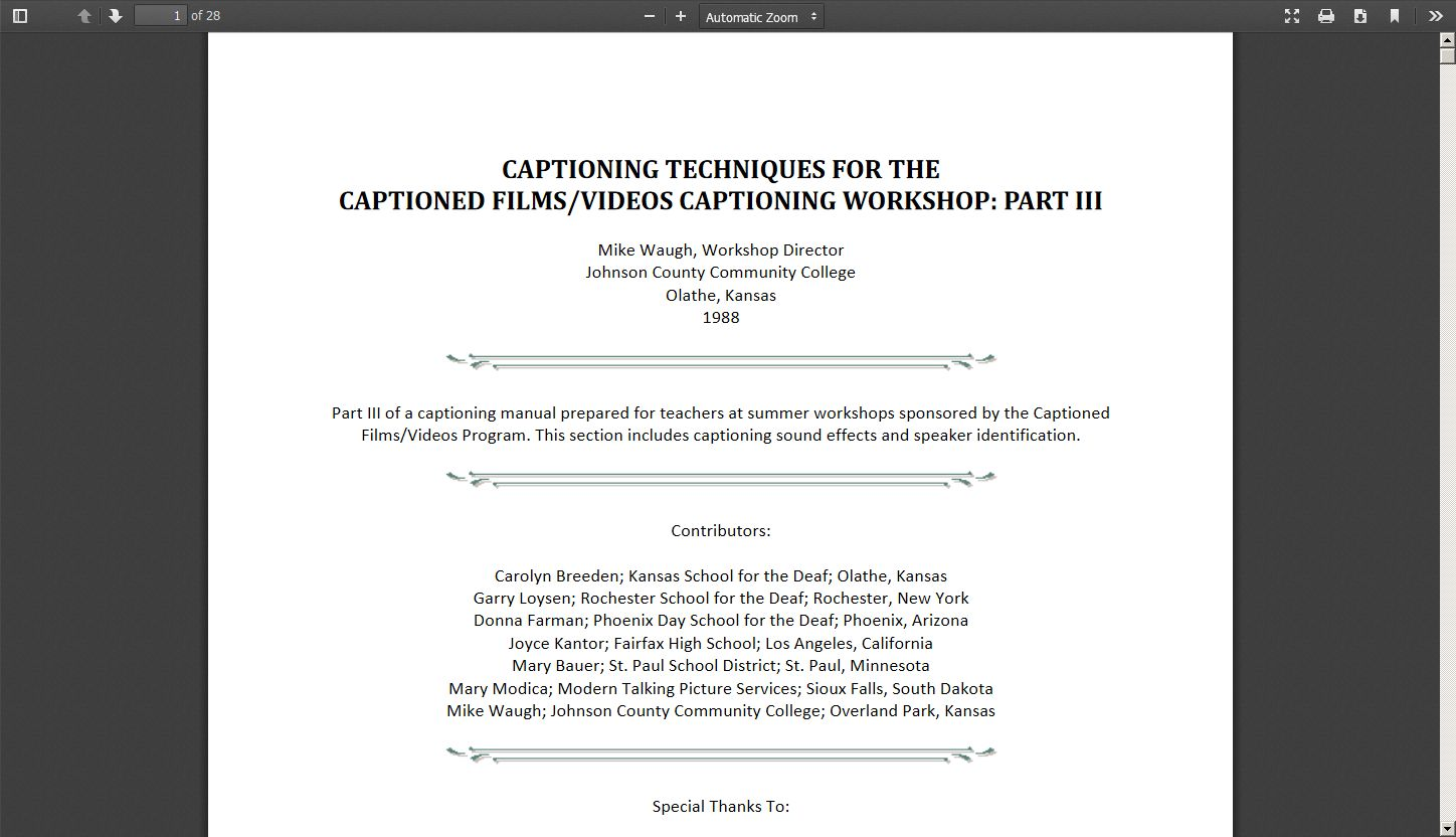 Captioning Techniques for the Captioned Films/Videos Captioning Workshop: Part III