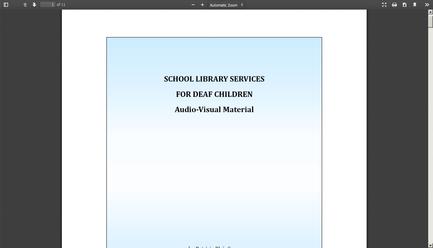 School Library Services for Deaf Children: Audio Visual Material