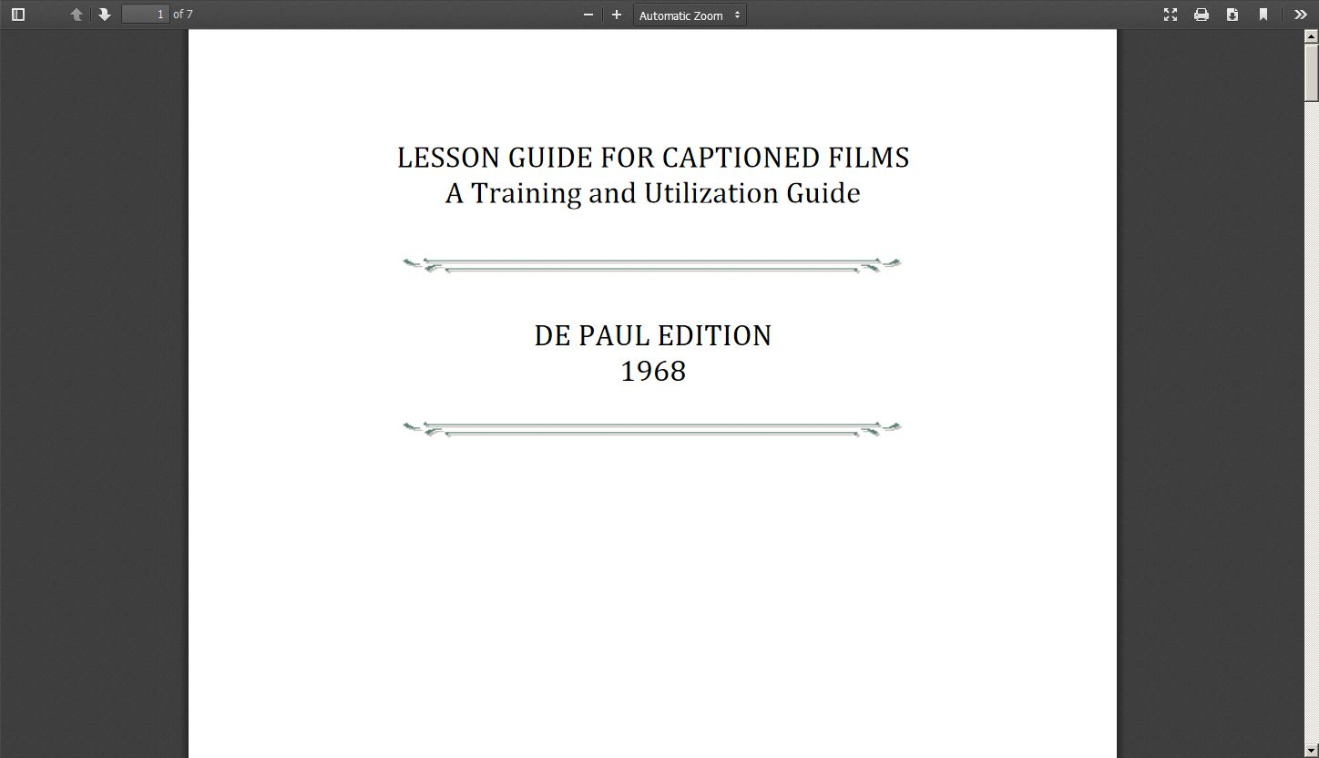 Lesson Guide for Captioned Films: A Training and Utilization Guide