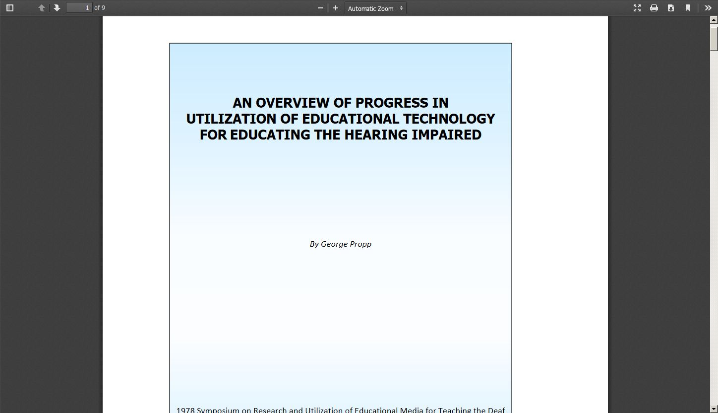 An Overview of Progress in Utilization of Educational Technology for Educating the Hearing Impaired