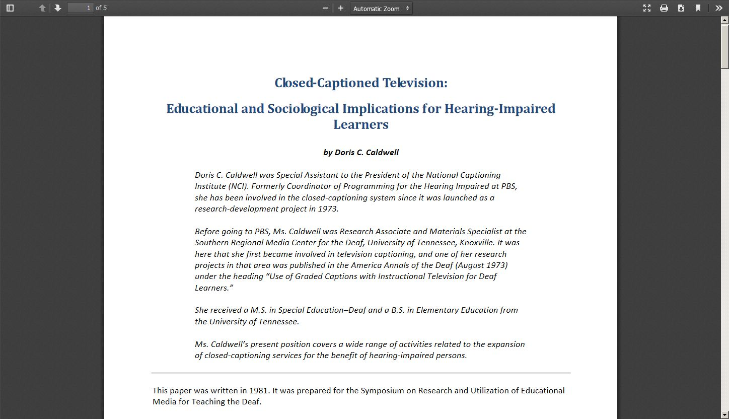 Closed Captioned Television: Educational and Sociological Implications for Hearing Impaired Learners