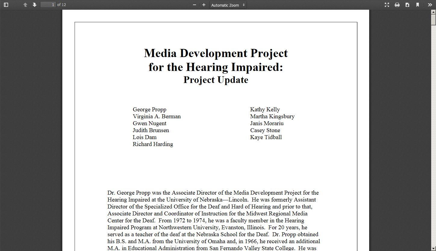 Media Development Project for the Hearing Impaired: Project Update