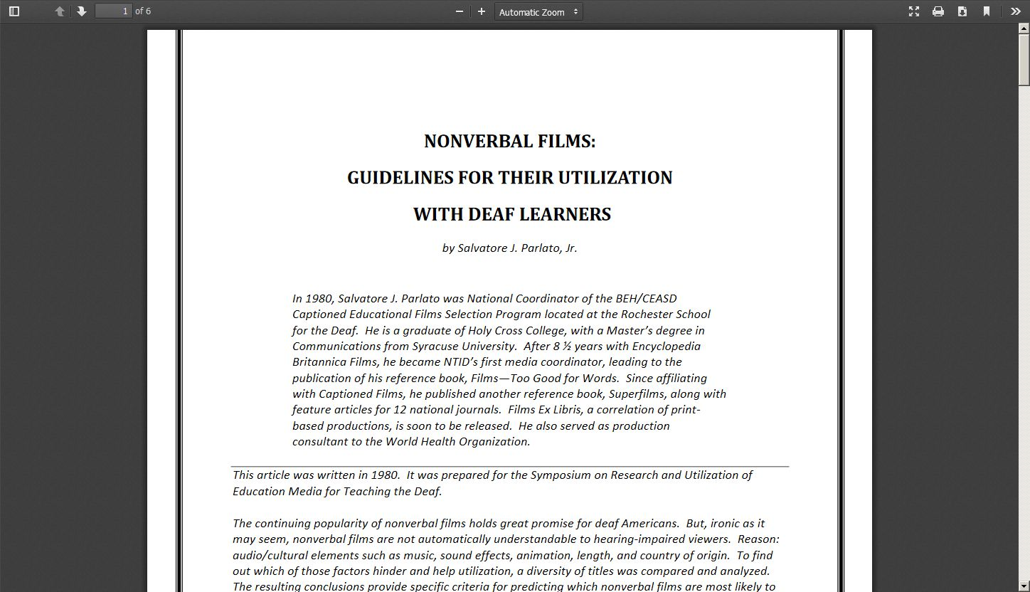 Nonverbal Films: Guidelines for Their Utilization with Deaf Learners