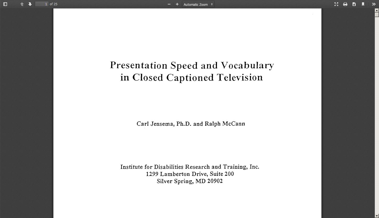 Presentation Speed and Vocabulary in Closed Captioned Television
