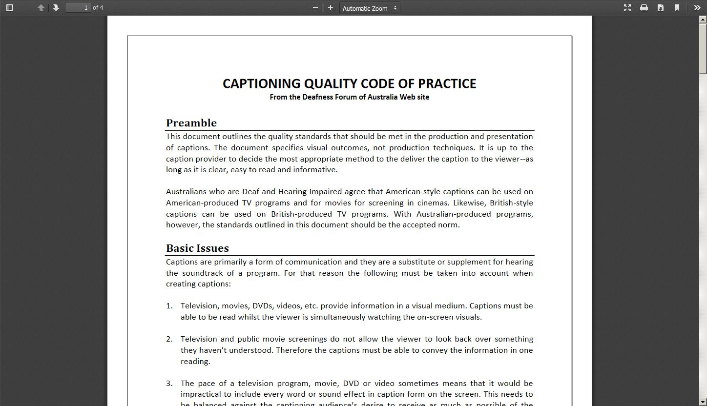 Captioning Quality Code of Practice