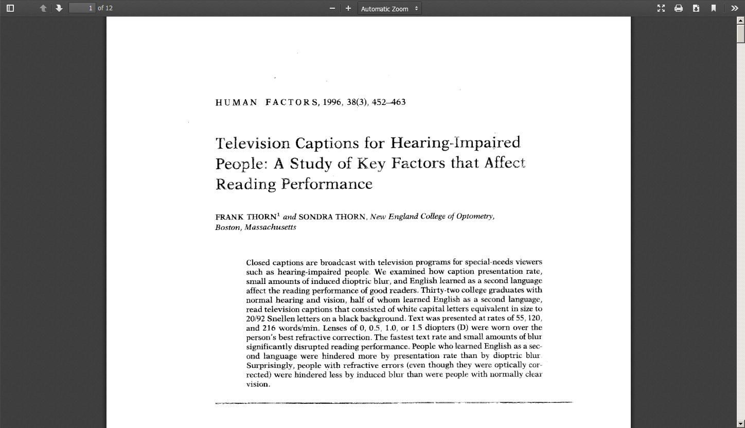 Television Captions for Hearing-impaired People: A Study of Key Factors That Affect Reading Performance