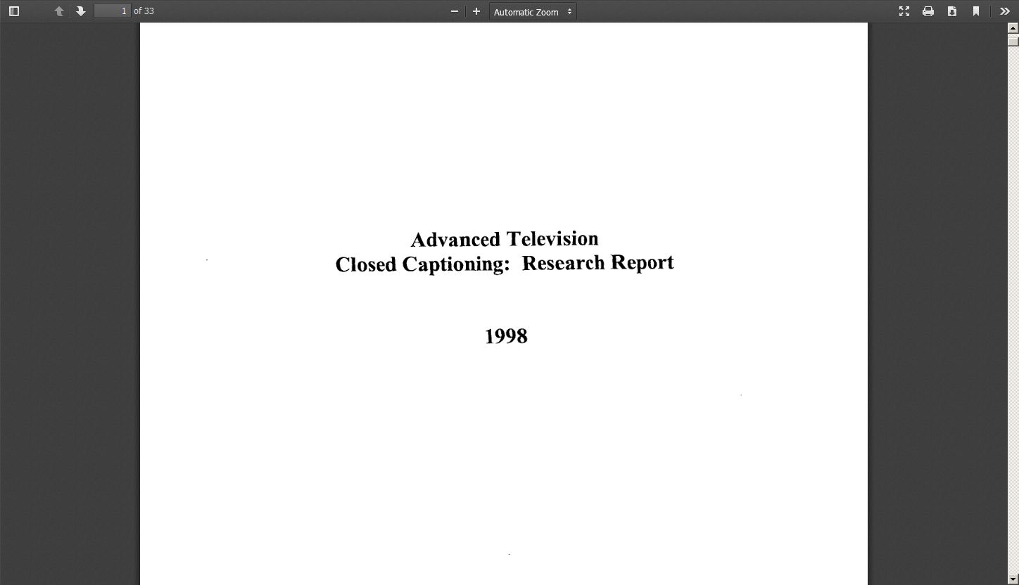 Advanced Television Closed Captioning Research Report