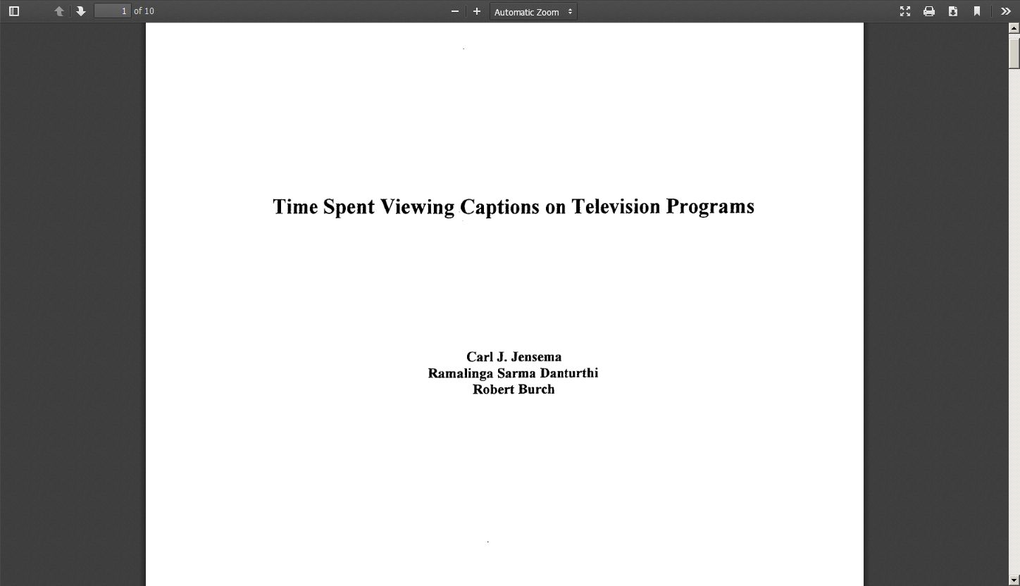 Time Spent Viewing Captions on Television Programs