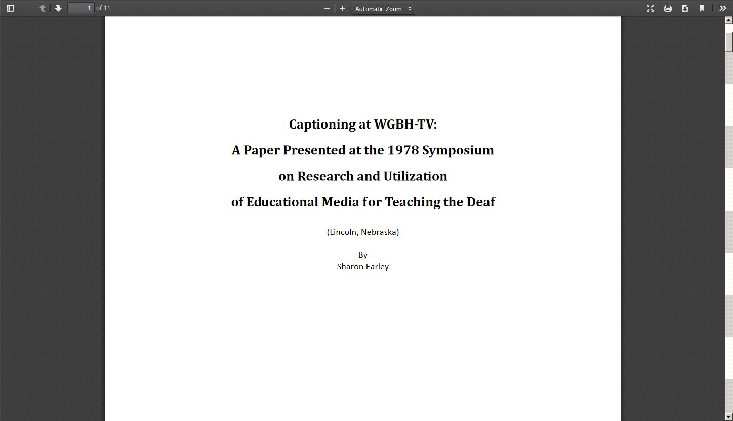 Captioning at WGBH TV: A Paper Presented at the 1978 Symposium on Research and Utilization of Educational Media for Teaching the Deaf