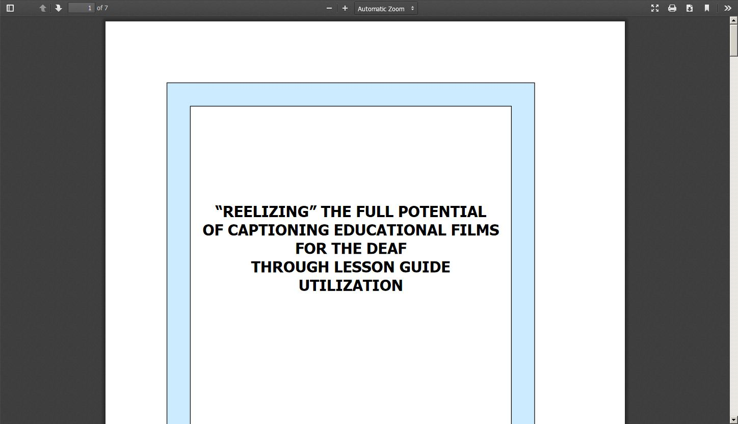 """Reelizing"" the Full Potential of Captioning Educational Films for the Deaf Through Lesson Guide Utilization"