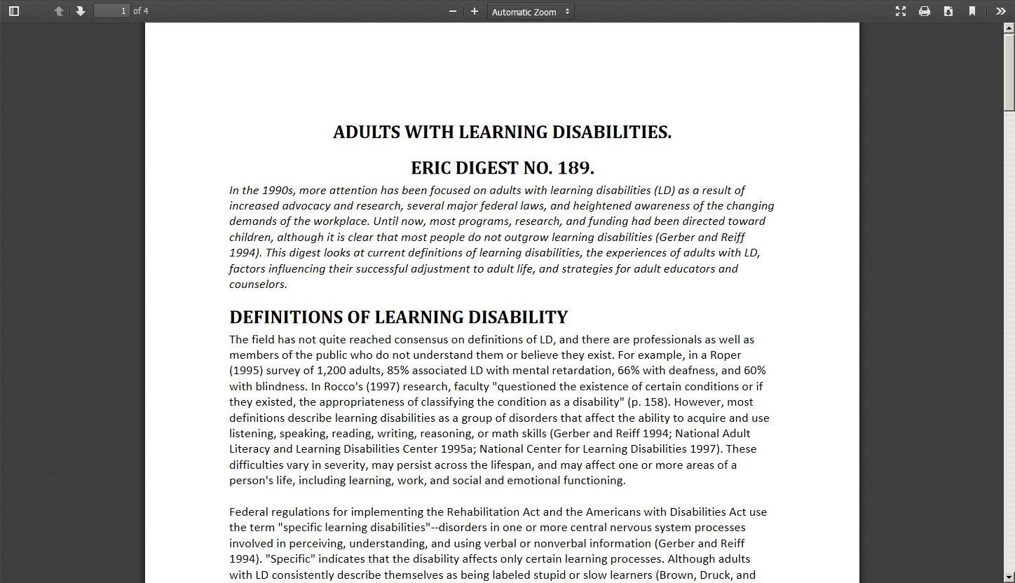 Adults With Learning Disabilities. ERIC Digest No. 189