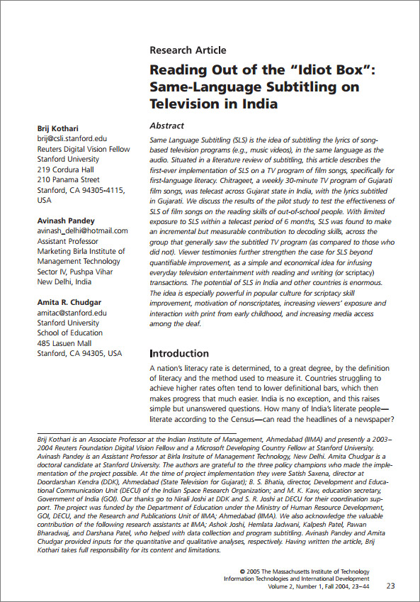 "Reading Out of the ""Idiot Box"": Same Language Subtitling on Television in India"