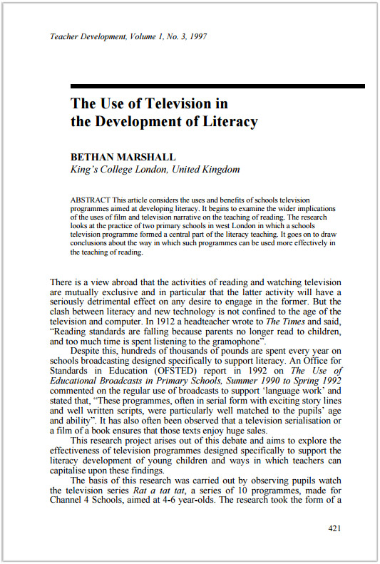 The Use of Television in the Development of Literacy