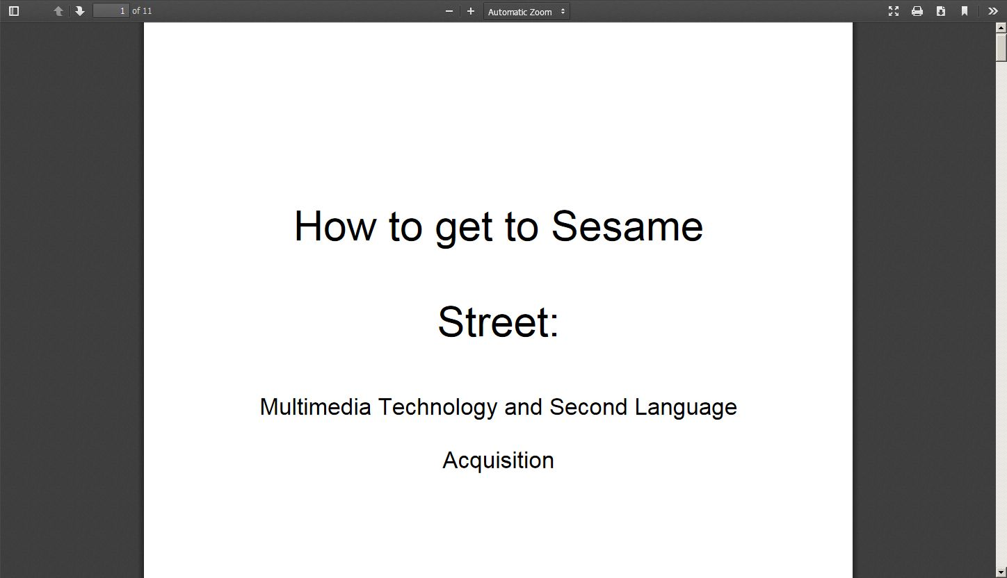 How to get to Sesame Street: Multimedia Technology and Second Language Acquisition