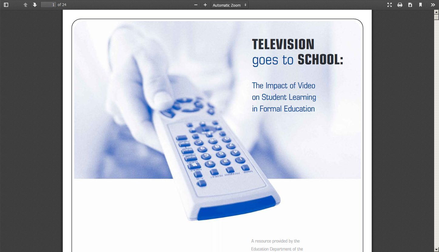 Television Goes to School: The Impact of Video on Student Learning in Formal Education