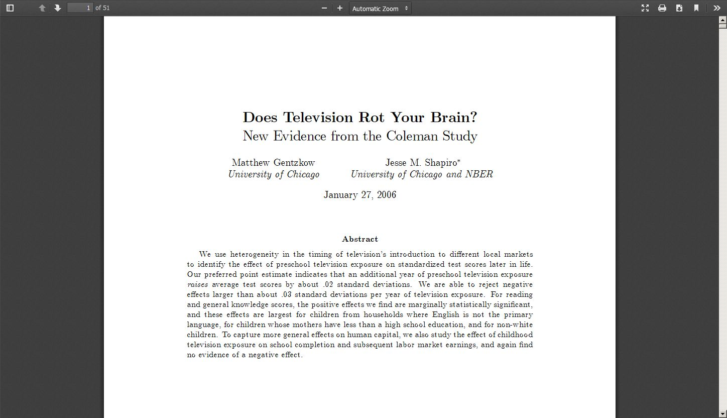 Does Television Rot Your Brain? New Evidence from the Coleman Study