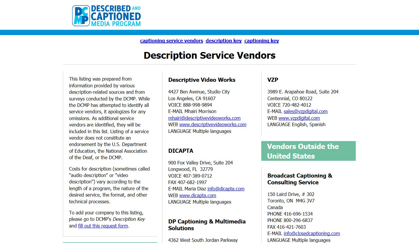 Description Service Vendors