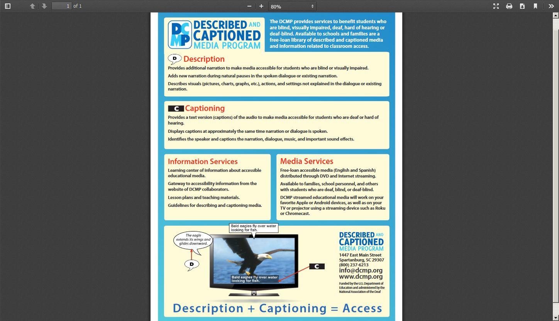 Described and Captioned Media Program Flyer