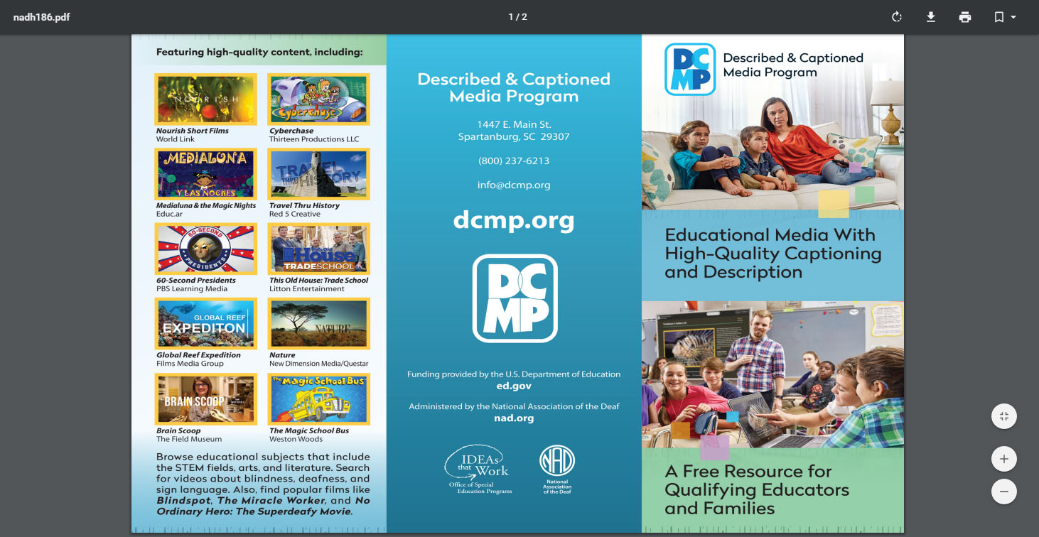 Described And Captioned Media Program Low Vision Brochure