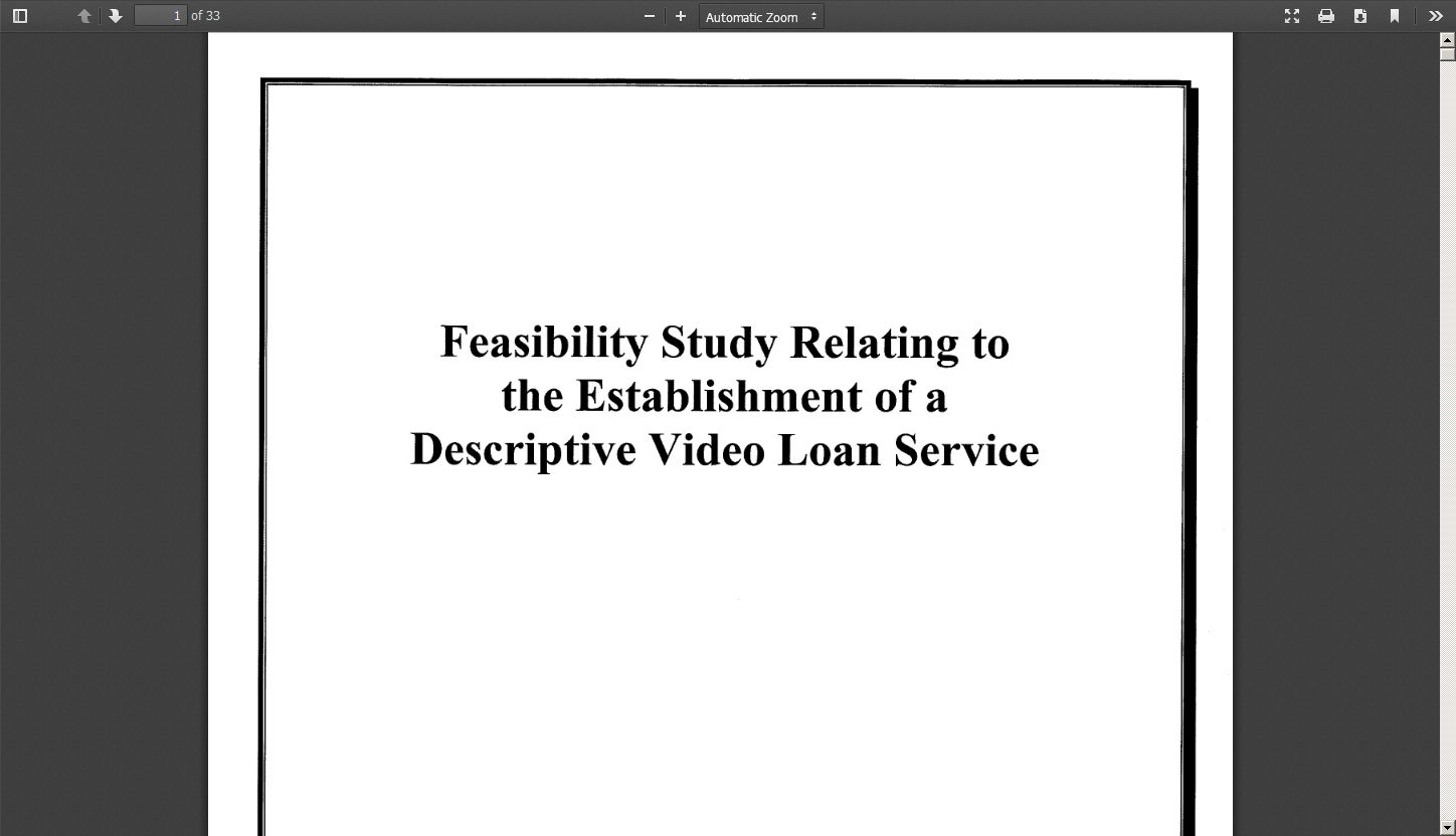 Feasibility Study Relating To The Establishment Of A Descriptive Loan Service
