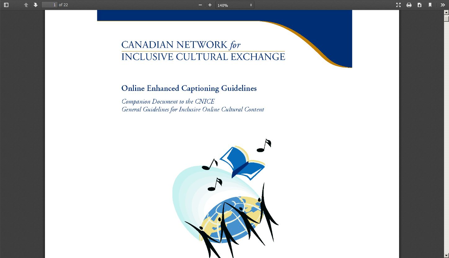 Canadian Network for Inclusive Cultural Exchange: Online Enhanced Captioning Guidelines