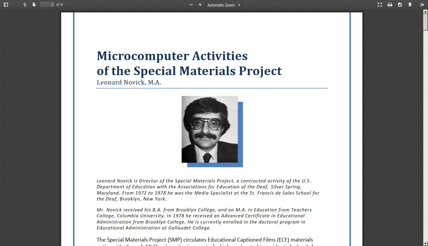 Microcomputer Activities of the Special Materials Project