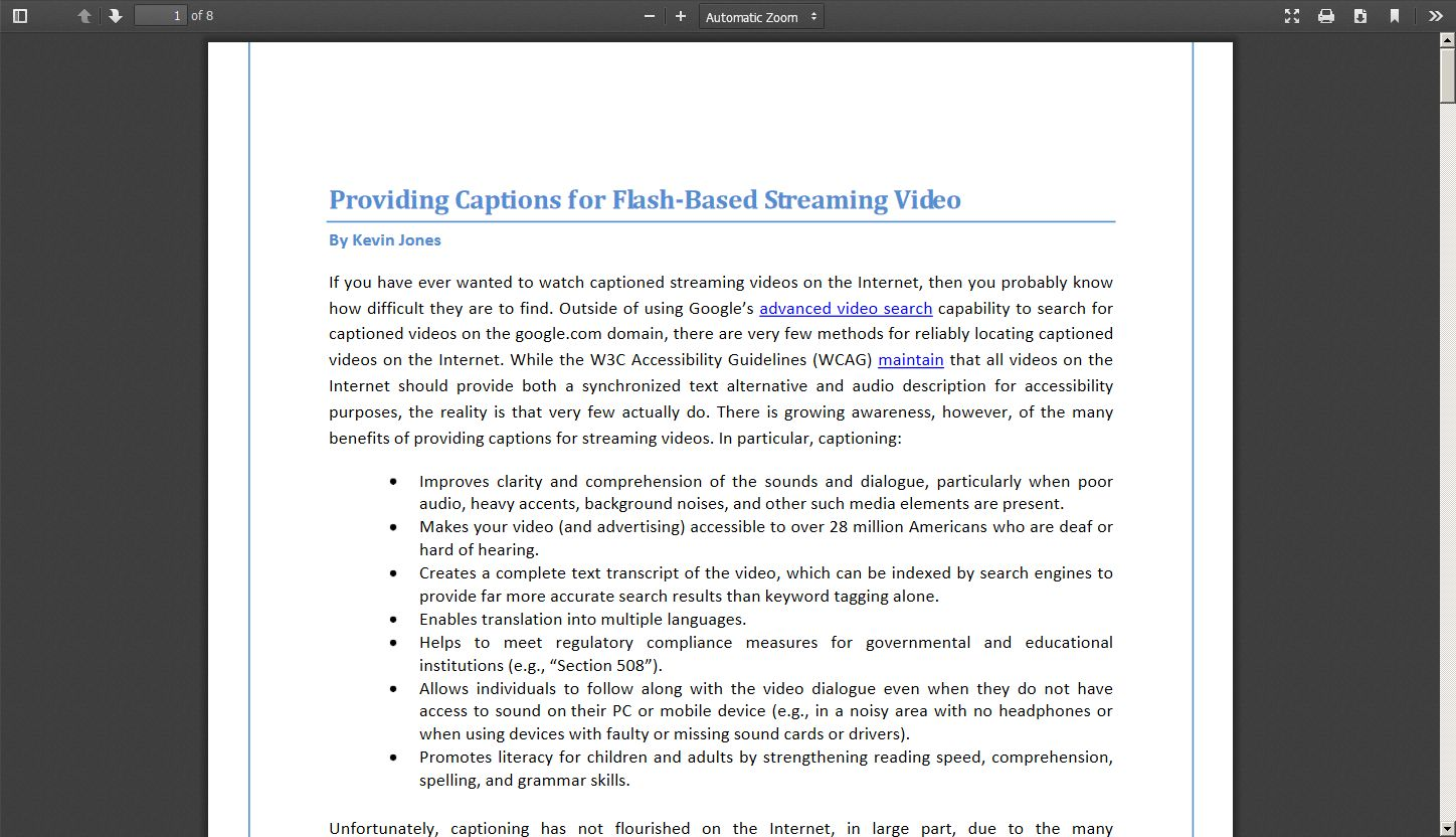 Providing Captions for Flash Based Streaming Video