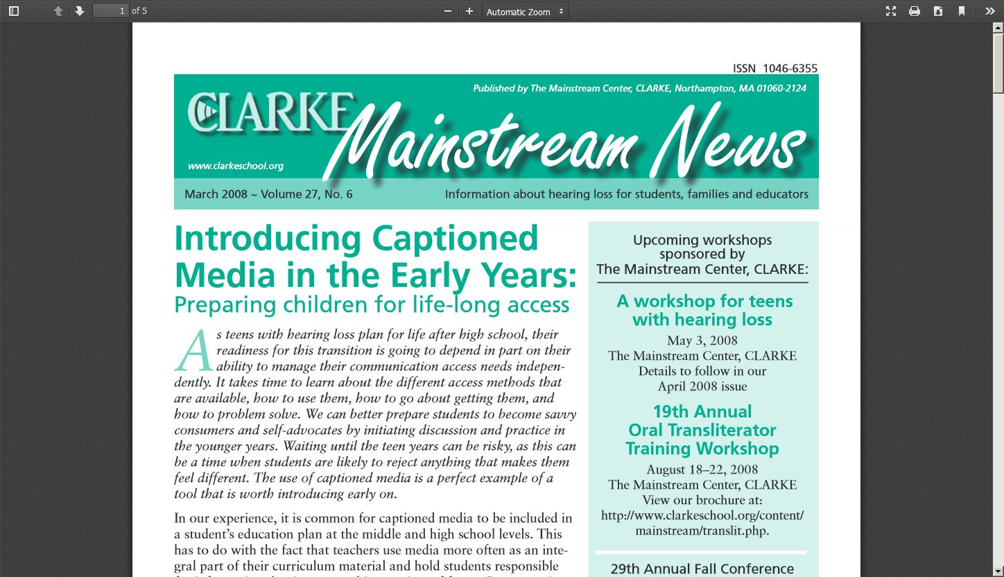 Introducing Captioned Media In The Early Years