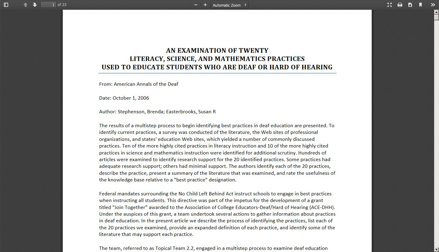 An Examination of Twenty Literacy, Science, and Mathematics Practices Used to Educate Students Who are Deaf or Hard of Hearing